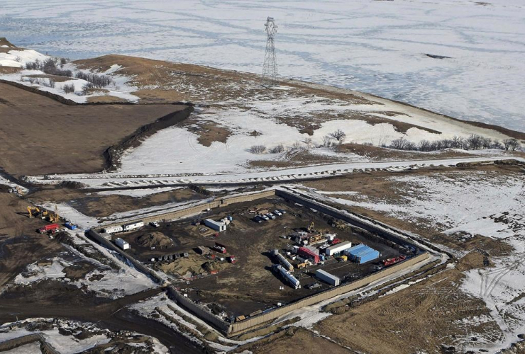 aerial photo shows a site where the final phase of the Dakota Access Pipeline will take place with boring equipment routing the pipeline underground and across Lake Oahe to connect with the existing pipeline in Emmons County in Cannon Ball, N.D.