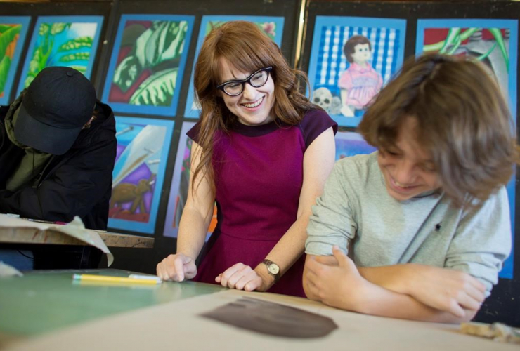 Diana Panton instructs a class of grade 9 French Immersion students during an art class at Westdale Secondary School in Hamilton, Ont., on Thursday, March 23, 2017.