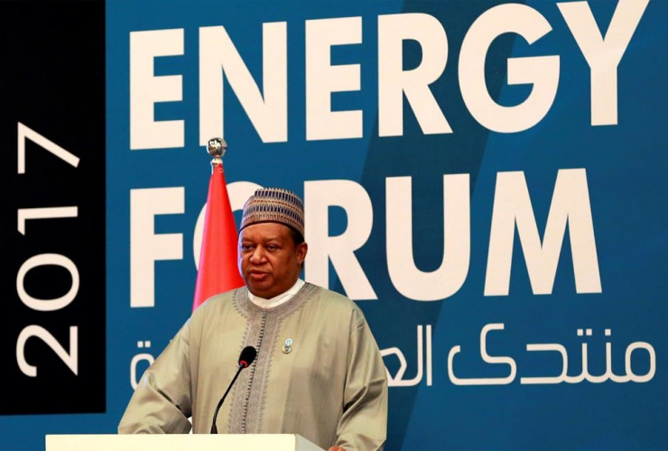 OPEC Secretary General, Mohammed Barkindo speaks to the media during Iraq Energy Forum, in Baghdad, Iraq, Sunday, April 2, 2017.