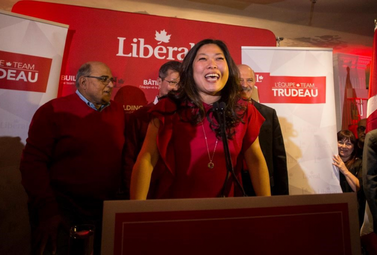 Liberal Candidate Mary Ng stands on the podium after winning the Markham-Thornhill federal byelection in Markham, Ontario, on Monday April 3, 2017.
