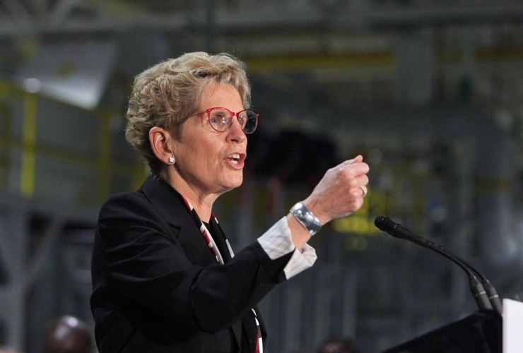 Ontario Premier Kathleen Wynne speaks at the Ford Essex Engine Plant in Windsor, Ont. on Thursday, March 30, 2017.