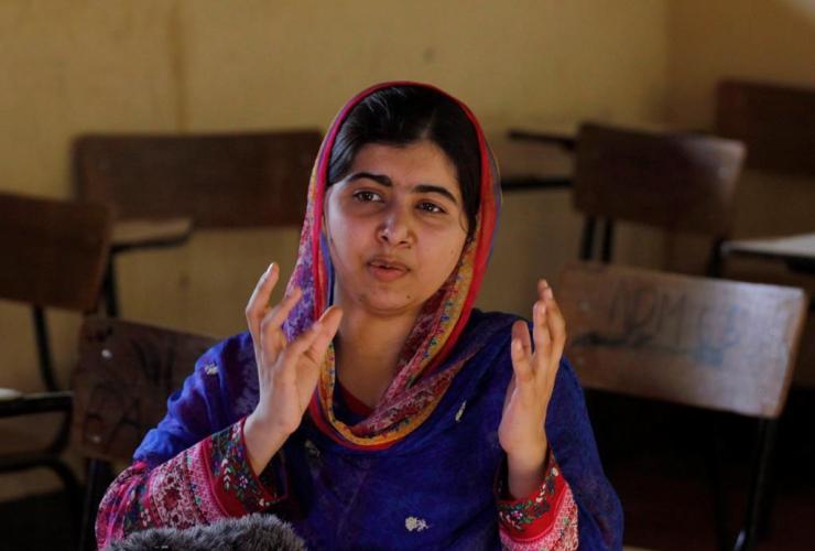 Nobel laureate Malala Yousafzai speaks to the Associated Press in Dadaab refugee camp, Kenya, Tuesday, July 12, 2016.