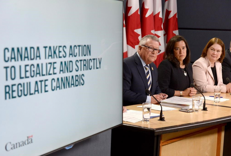 Minister of Public Safety and Emergency Preparedness Ralph Goodale, left to right, Justice Minister and Attorney General of Canada Jody Wilson-Raybould, and Health Minister Jane Philpott announce changes regarding the legalization of marijuana.