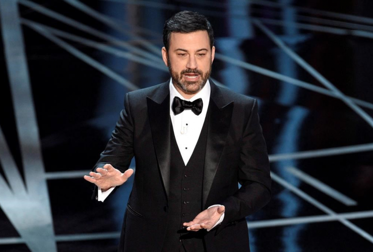 Late night TV host Jimmy Kimmel speaks at the Oscars on Sunday, Feb. 26, 2017, at the Dolby Theatre in Los Angeles.