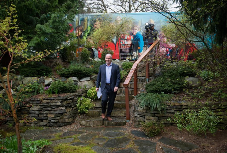 NDP Leader John Horgan arrives at a house for a campaign stop in Burnaby, B.C., on Monday, April 17, 2017.