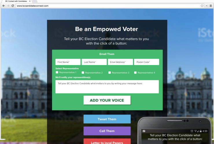 A platform called BCvoters.ca lets individuals contact candidates.