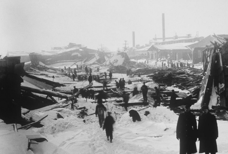 The aftermath of the 1917 Halifax ship explosion is shown in a file photo.