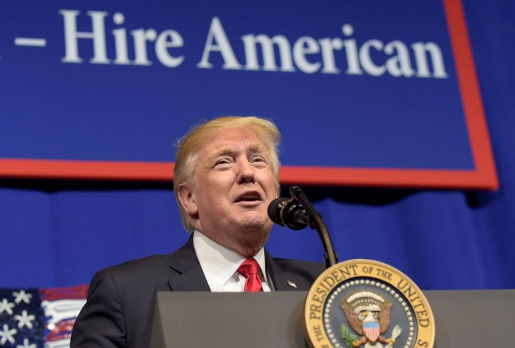 President Donald Trump speaks at tool manufacturer Snap-on Inc. in Kenosha, Wis., Tuesday, April 18, 2017.
