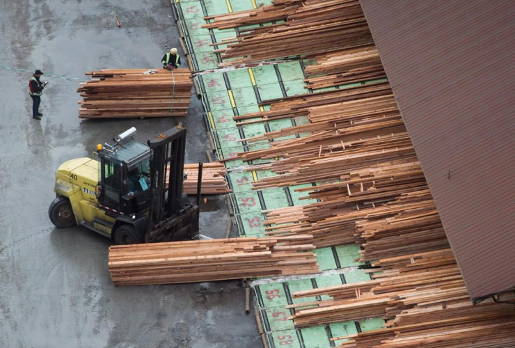 Workers sort and move lumber at the Delta Cedar Sawmill in Delta, B.C., on Friday, January 6, 2017.