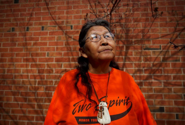 Ma-Nee Chacaby, an Ojibwa-Cree elder from Thunder Bay, Ont., poses for a portrait in Toronto on Friday, April 28, 2017. Photo by the Canadian Press/Cole Burston