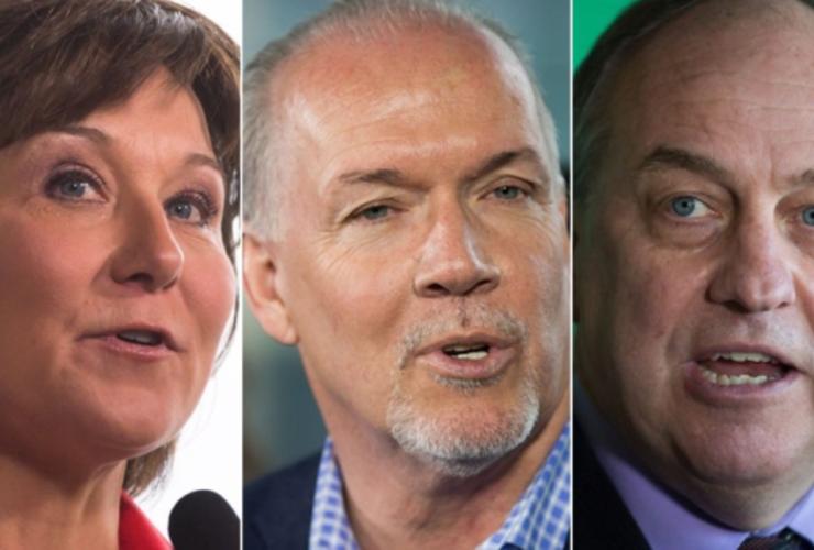 John Horgan, Andrew Weaver, Christy Clark, B.C. election