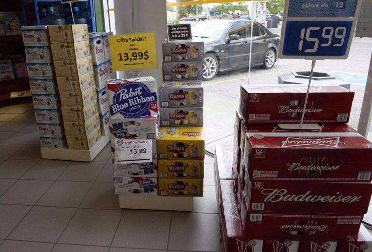 Various brands of beer are seen on display inside a store in Drummondville, Que., on July 23, 2015.