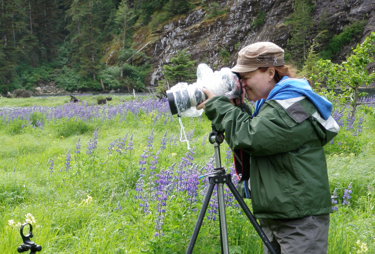 Trish Boyum taking photos in the Great Bear Rainforest