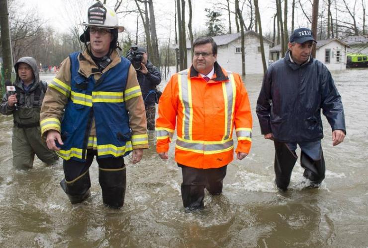 Denis Coderre, Richard Bélanger, flood, Montreal, Ile-Bizard