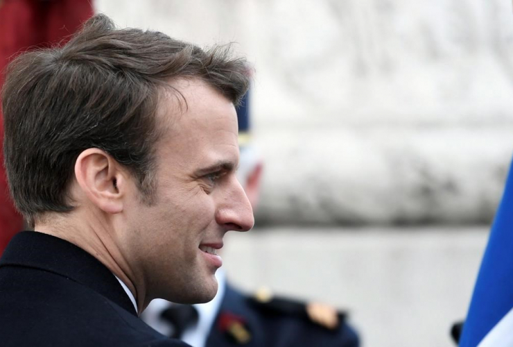 French President-elect Emmanuel Macron, attends a ceremony to mark the end of World War II at the Arc de Triomphe in Paris, Monday, May 8, 2017. Photo by The Associated Press