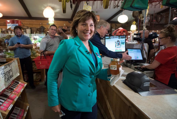 B.C. Liberal Leader Christy Clark buys a jar of honey as she makes a campaign stop at a farmers market in Duncan, B.C., Thursday, May 4, 2017.