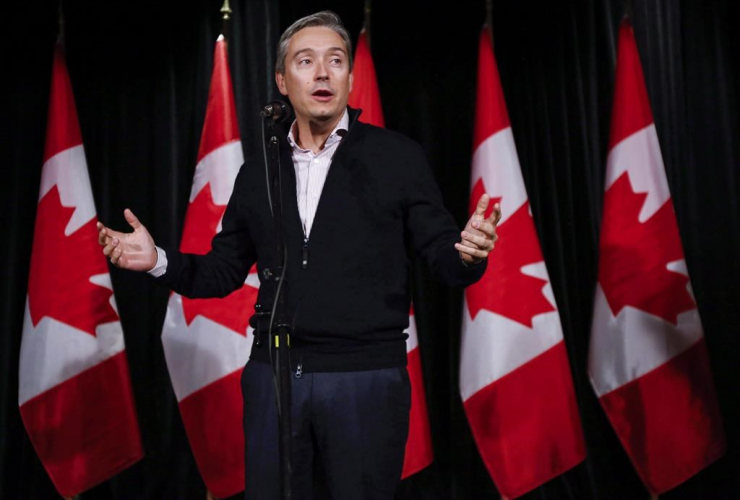 Francois-Philippe Champagne, Minister of International Trade, speaks to reporters at a Liberal cabinet retreat in Calgary, Alta., Monday, Jan. 23, 2017. File photo by The Canadian Press/Jeff McIntosh