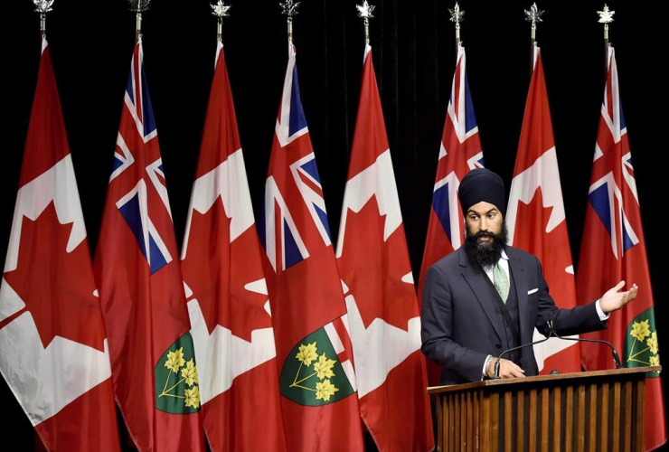 NDP MPP Jagmeet Singh speaks at Queen's Park in Toronto on Wednesday, October 28, 2015.
