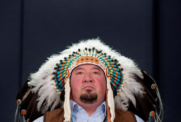 """Grand Chief Derek Nepinak of the Assembly of Manitoba Chiefs discusses the ongoing rejection of Canada's Bill C-33, the """"First Nations Control of First Nations Education Act"""" during a news conference in Ottawa on April 28, 2014."""