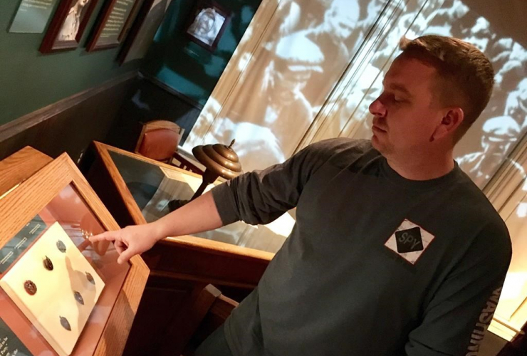 Espionage historian Vince Houghton, the curator of the International Spy Museum, seen here on March 31, 2017, in Washington, D.C., pointing out an exhibit on the history of Russian espionage.