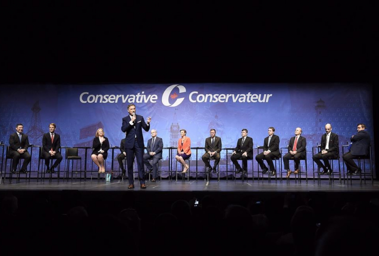 Conservative leadership candidate Maxime Bernier speaks during the Conservative Party of Canada leadership debate in Toronto on Wednesday April 26, 2017.