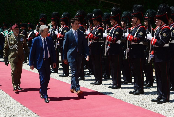 Prime Minister Justin Trudeau meets with Italian Prime Minister Paolo Gentiloni at Villa Madama in Rome, Italy on Tuesday, May 30, 2017.