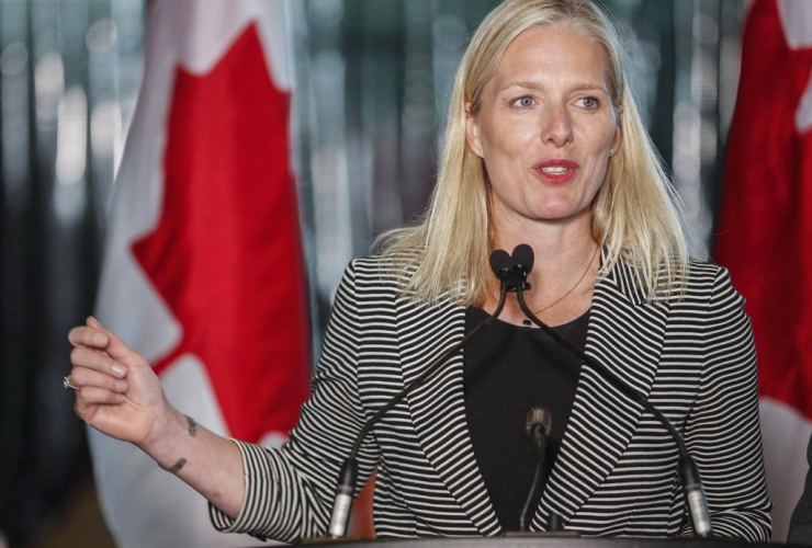 Environment Minister Catherine McKenna speaks at an announcement regarding the Pan-Canadian Framework on Clean Growth and Climate Change in Calgary, Alta., Thursday, May 25, 2017.