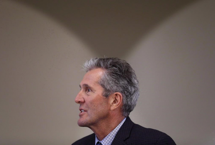Manitoba Premier Brian Pallister responds to media after meeting with the Manitoba Islamic Association at the Grand Mosque in Winnipeg, Tuesday, January 31, 2017. File photo by the Canadian Press/John Woods