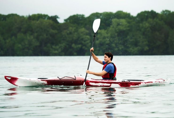 Prime Minister Justin Trudeau kayaks on the Niagara River in Niagara-on-the Lake, Ont., on Monday, June 5, 2017. Trudeau was promoting World Environment Day.