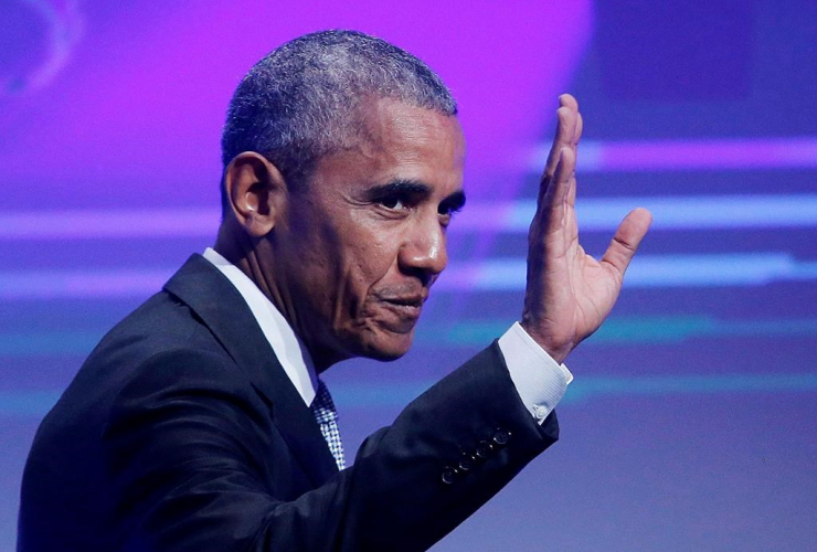 Former US President Barack Obama waves before he is awarded the German Media Prize 2016 in Baden-Baden, Germany on May 25, 2017.