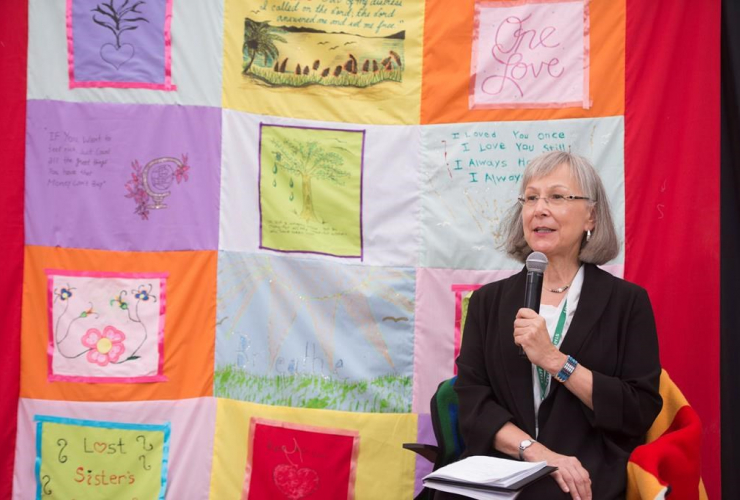 Chief Commissioner Marion Buller gives her closing remarks following the National Inquiry into Missing and Murdered Indigenous Women and Girls in Whitehorse, Yukon, on Thursday, June 1, 2017.