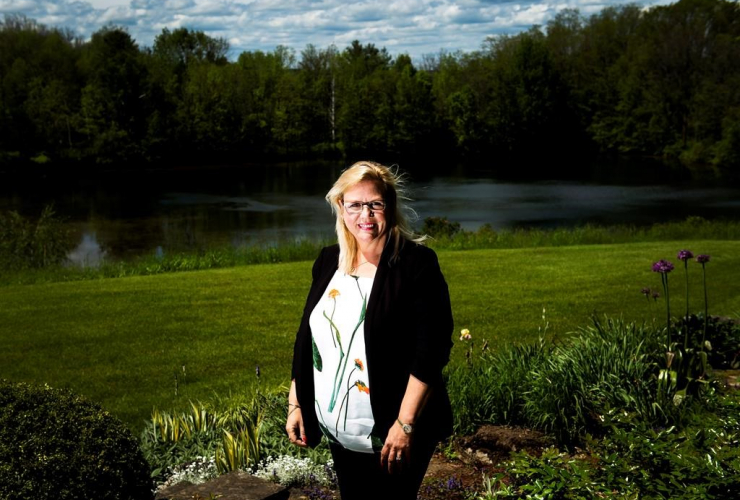 Jeannette VanderMarel, co-founder of cannabis company The Green Organic Dutchman Holding Inc., poses for a photograph at her home in Ancaster, Ont., on Thursday, June 1, 2017.