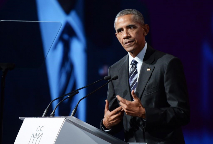 Former U.S. President Barack Obama speaks at the convention centre in Montreal on Tuesday, June 6, 2017.