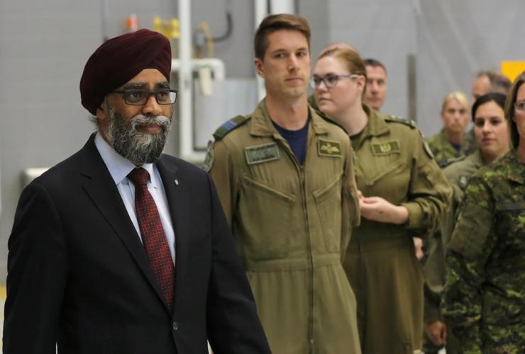 Minister of Defence Harjit Sajjan arrives at CFB Trenton in Trenton, Ont., on Thursday, June 8, 2017.