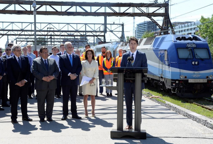 Prime Minister Justin Trudeau announces a $1.28-billion commitment toward a major Montreal rail project that will connect the city to its suburbs and to its international airport on Thursday, June 15, 2017.