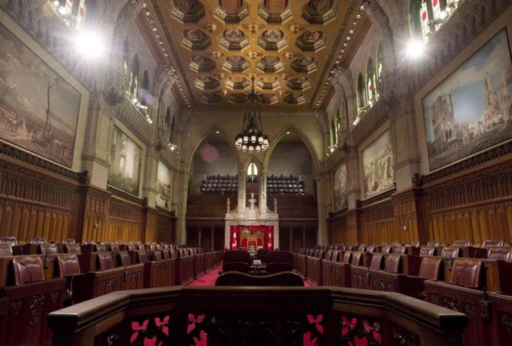 The Senate chamber sits empty on September 12, 2014 in Ottawa. The Senate won't be splitting the Trudeau government's budget bill to hive off the portion dealing with creation of a new infrastructure bank.