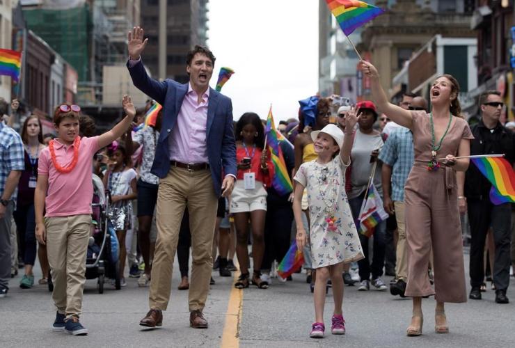 Prime Minister Justin Trudeau, Sophie Gregoire Trudeau, Ella-Grace, Xavier, Pride parade, Toronto