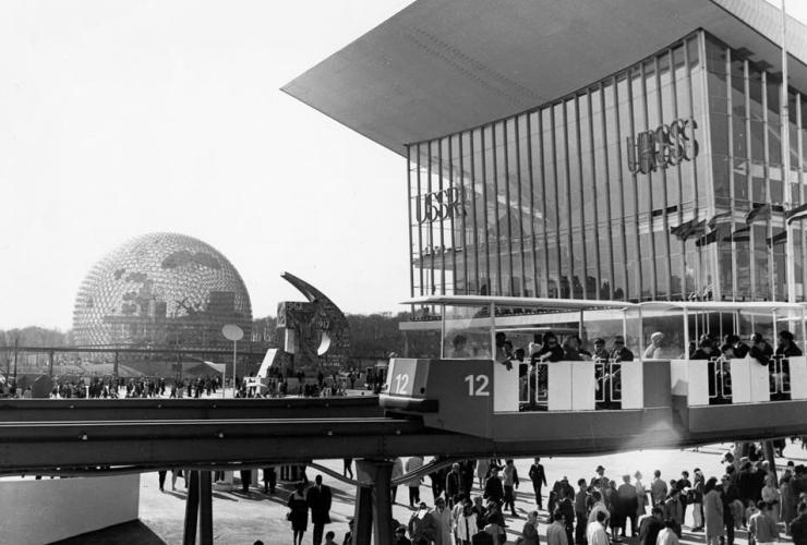 mini-rail, passengers, USSR Pavilion, US Pavilion, Expo '67, Expo 67