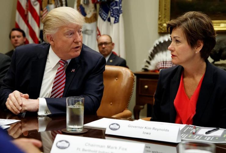 Iowa Governor, Kim Reynolds, President Donald Trump, energy roundtable, Roosevelt Room, White House, Washington