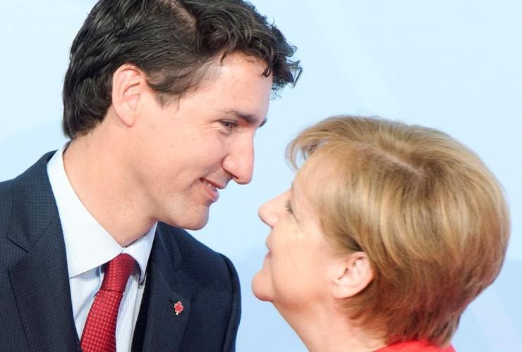 Prime Minister Justin Trudeau, German Chancellor Angela Merkel, G20 summit, Hamburg, Germany