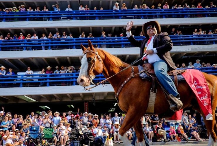 Calgary Mayor, Naheed Nenshi, horse, Calgary Stampede parade, Calgary