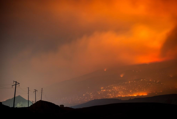 wildfire, mountain, Cache Creek