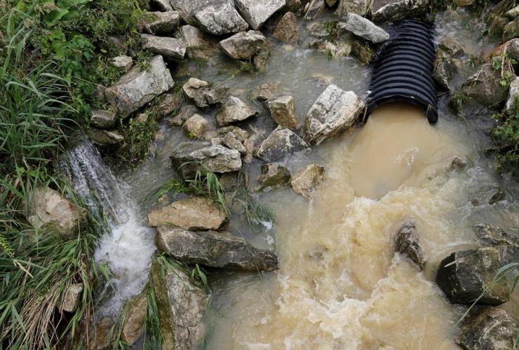 muddy water, construction, natural gas pipeline, seep, creek, New Washington, Ohio