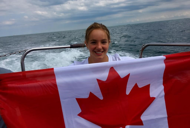 Emily Epp, Canadian flag, boat on the English Channel,