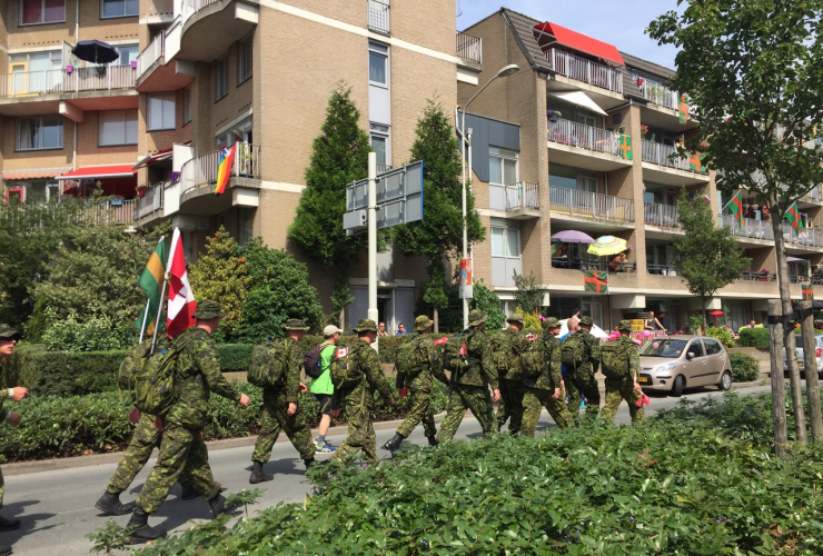 Canadian soldiers mark through the Dutch city of Nijmegen as part of the Four Day Walk. Photo by Dylan Waisman