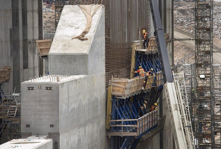 construction site, hydroelectric facility, Muskrat Falls, Newfoundland and Labrador,