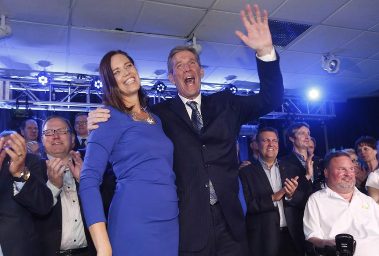 Brian Pallister and his wife Esther celebrate his election victory in Manitoba in 2016.