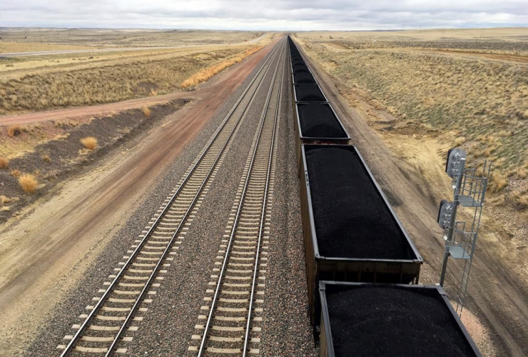 train, hauls, coal, mined, Wyoming, Powder River Basin,