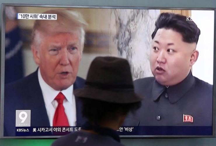 television screen, Donald Trump, Kim Jong Un