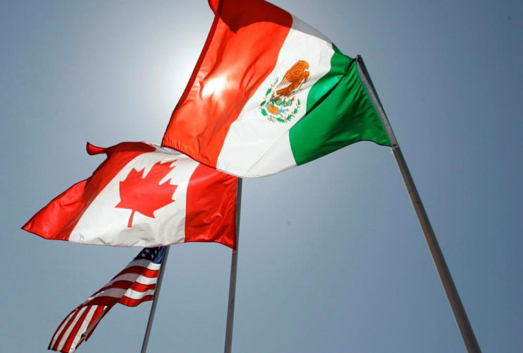 national flags, United States, Canada, Mexico, New Orleans